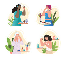 Collection Of Female Characters Caring For Skin. Beautiful Women With Various Beauty Products. Cleansing, Moisturizing, Toning And Nourishing Face. Cartoon Flat Vector Set Isolated On White Background