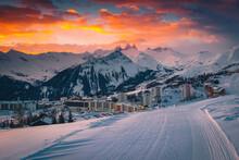 Popular Alpine Ski Resort With Colorful Sunrise, La Toussuire, France