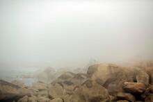 The Rocks On The Atlantic Coast In Foggy Weather, Porto, Portugal.