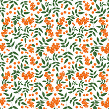 Seamless Pattern With Branches Of Rowanberry Leaves  And Berries In Autumn
