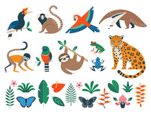 Set Of Tropical Jungle Animals, Leaves And Flowers Isolated On White Background. Flat Vector Clipart For Your Design