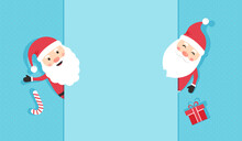 Santa Claus Vector Card, Christmas Background, Cartoon Winter Banner, Cute Characters And Paper Frame, Invitation Blank. Greeting Illustration