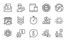 Business Icons Set. Included Icon As Vip Chip, Remove Account, Sunset Signs. Electricity, Timer, Shoulder Strap Symbols. Career Ladder, Teamwork, Reject Letter. Atom, Market Line Icons. Vector