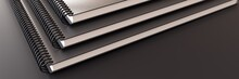 Closeup Of Three Black Notebooks On Dark Background.