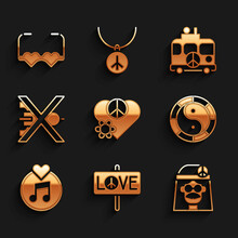Set Love Peace, Peace, Hippie Girl, Yin Yang Symbol, Vinyl Disk, No War, Camper Van And Heart Shaped Love Glasses Icon. Vector