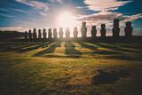 Fototapeta Kawa jest smaczna - Sunrise over Moai stone sculptures at Ahu Tongariki, Easter island, Chile.