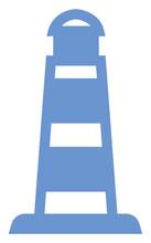 Blue Lighthouse, Icon Illustration, Vector On White Background