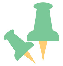 Green Pins, Illustration, On A White Background.