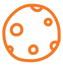 Full Orange Moon, Illustration, Vector On A White Background.