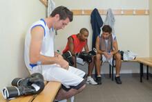 Boxers Resting The Locker Room