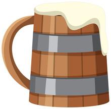 A Wooden Beer Mug On White Background