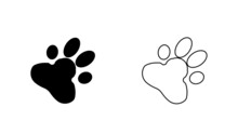 Animal Love Symbol Paw Print With Heart, Isolated