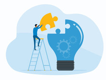 Flat Vector Design Concept Business Thinking And Creativity. Businessman Working Hold Puzzle Jigsaw Piece With Light Bulb