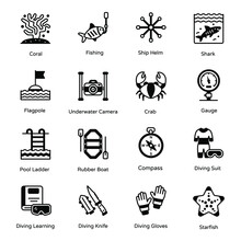 Set Of Diving Tools And Underwater Glyph Icons