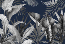 Mural For The Walls. Photo Wallpapers For The Room. Tropical Leaves On A Blue Background In The Grunge Style.