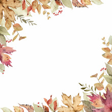 Watercolor Vector Card With Fall Leaves And Branches Isolated On A White Background.