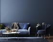 Leinwandbild Motiv Home interior, luxury modern dark living room interior, blue empty wall mock up, 3d render
