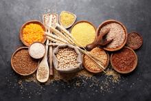 Gluten Free Cereals. Rice, Buckwheat, Corn Groats, Quinoa And Millet