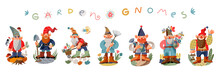Garden Gnome Set. Funny Little Dwarfs Statues Vector Illustration. Collection Of Male Midgets With Flowers, Watering Can, Lantern, Spade, Mushrooms, Equipment On White Background