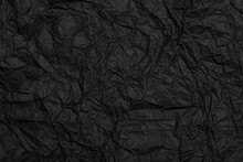 Black Crafted Recycled Paper With Texture And Wrinkled Effect. Black Crumpled Paper Backing.