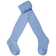 Light Blue Baby Tights, Socks Apart, On A White Background, Half Rolled Up