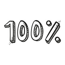 Hand Drawn One Hundred Percent Icon In Doodle Style Isolated
