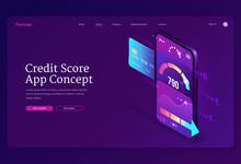 Credit Score Isometric Landing Page, Bank Rating