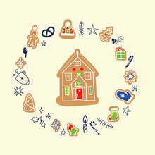Vector Doodle Christmas Card With Gingerbread Houses On A Funny Background. Decorative Christmas And New Year Greeting Card Or Postcard Templates With Sweet Tasty Gingerbread Houses And Holiday Wishes