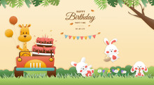 Greeting Card Cute Birthday A Giraffe Drives A Car And Tree Rabbit. Jungle Animals Celebrate Children's Birthdays And Template Invitation Paper Cut And Papercraft Style Vector Illustration.