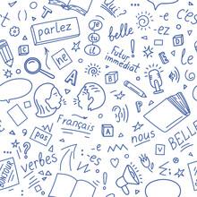 French Language Doodle Pattern.