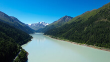 Beautiful Lake At Kaunertal Valley In Austria - Aerial View - Travel Photography By Drone