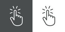 Logotipo Con Silueta De Mano Como Cursor Con Lineas En Fondo Gris Y Fondo Blanco