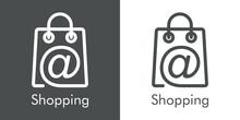 Símbolo De Tienda En Línea. Logotipo Lineal Con Texto Shopping Con Símbolo Arroba En Bolsa De La Compra En Fondo Gris Y Fondo Blanco