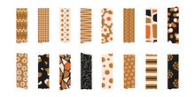 Trendy  Set Of Colorful Stylish Washi Tape Isolated On A White Background.  Vector Stripes And Pieces Of Duct Paper, Or Scotch With Different Print
