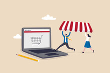 Open Shop Online, Start E-commerce Store Selling Product Online, Build Website Create Virtual Store In The Internet Concept, Business People Shop Owner Building New Website On Laptop Computer.
