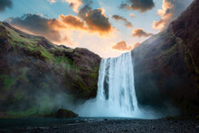 Famous Skogafoss Waterfall On Skoga River In Sunrise Time