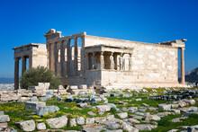Ancient Temple Erechteion In Acropolis, Athens, Greece
