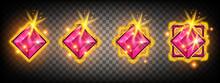 Game Gem Crystal Stone Vector Set, UI Jewel Treasure Achievement Badge Design, Magic Royal Jewelry. Golden Crystal Shiny Level Up Reward Kit On Transparent Background. Ranking Game Gem Concept