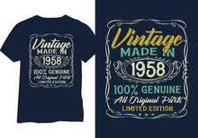 Born In 1958 Vintage Birthday Typography Design For Tshirt Print