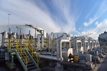 Pipelines And Buildings Of A Refinery - Industrial Plant For Fuel Production