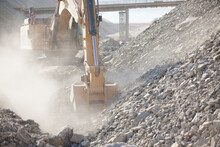 Diggers Working In Quarry