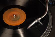 Closeup Of Turntable Needle On Record
