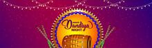 Indian Festival Dandiya Night Celebration Banner With Vector Illustration