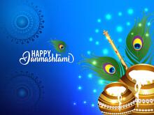Indian Religion Festival Happy Janmashtami Vector Illustration Background