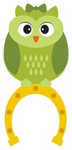 Cute Green St. Patrick Owl Sitting On The Top Of Horseshoe. Vector Owl With Bow
