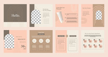 Minimal Modern Fashion And Beauty Social Media Post Banner Collection Kit In Pink Color. Including Sale, Photo Isolated Product Display, Tips Template Layout Design With Botanical Leaf Elements.