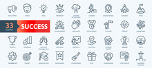 Web Set Of Success, Goals And Target Related Vector Thin Line Icons. Contains Such Icons As Achievment, Handshake, Victory And More. Outline Icons Collection. Simple Vector Illustration.