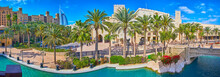 Panorama Of Souk Madinat Jumeirah With Canal And Palm Alley, Dubai, UAE