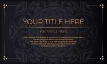 Black Banner With Luxurious Orange Ornaments And Place For Your Logo. Template For Postcard Print Design With Greek Patterns.