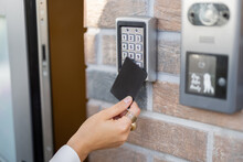 Attaching Card To The Electronic Reader To Access The Office Or Apartment